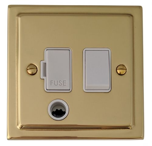 G&H TB56W Trimline Plate Polished Brass 1 Gang Fused Spur 13A Switched & Flex Outlet